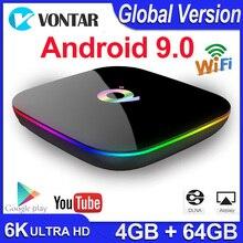 Q Plus TV Box con Android 9,0, dispositivo de TV inteligente, 4GB de RAM, 64GB, Allwinner H6, Quad Core, 6K, H.265, USB 3,0, wi fi 2,4 GHz, Google Play store, Youtube