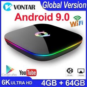Image 1 - Qプラスのandroid 9.0 tvボックススマートtvボックス4ギガバイトのram 64ギガバイトallwinner H6クアッドコア6 18k h.265 USD3.0 2.4 3g wifi googleプレイストアyoutube