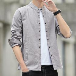 Spring and autumn new men's stand-up collar slim solid color shirt men's casual long-sleeved shirt AM968-1-25