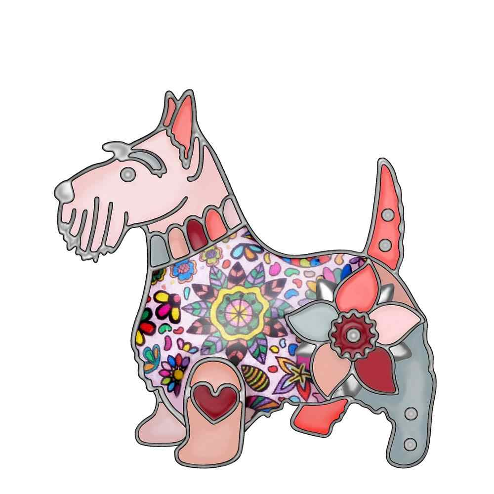 WEVENI Emaye Alaşım Çiçek Schnauzer Köpek Broş Pin Elbise Eşarp Hayvan Evcil Hayvan Takı Kadınlar Kızlar Için Severler Süslemeleri Hediyeler