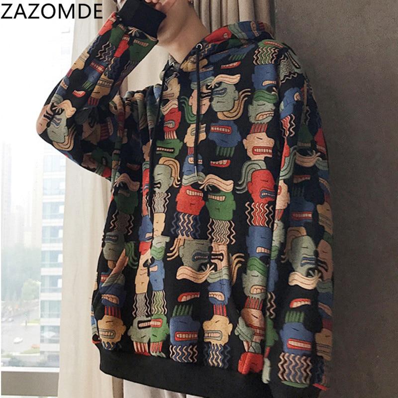 ZAZOMDE Print Sweatshirt men Hoodies Oversized Hoodie Harajuku Loose Hooded man Student Coat Streetwear men hip hop Sweatshirt