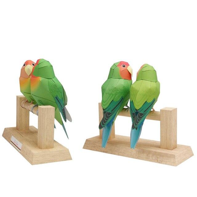 Love Birds Parrot Folding Cutting Mini Cute 3D Paper Model Papercraft Flying Animal Figure DIY Kids Adult Craft Toys QD-105 3