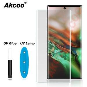 Image 1 - Akcoo 참고 10 화면 보호기 전체 커버 UV 유리 보호 필름 삼성 갤럭시 S8 9 플러스 10e 참고 8 9 5G 강화 유리