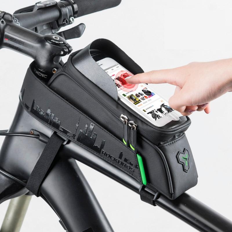 Rockbros Bike Bag Voorkant Telefoon Fietstas Voor Fiets Buis Waterdicht Touchscreen Zadel Pakket Voor 5.8/6 Fiets accessoires