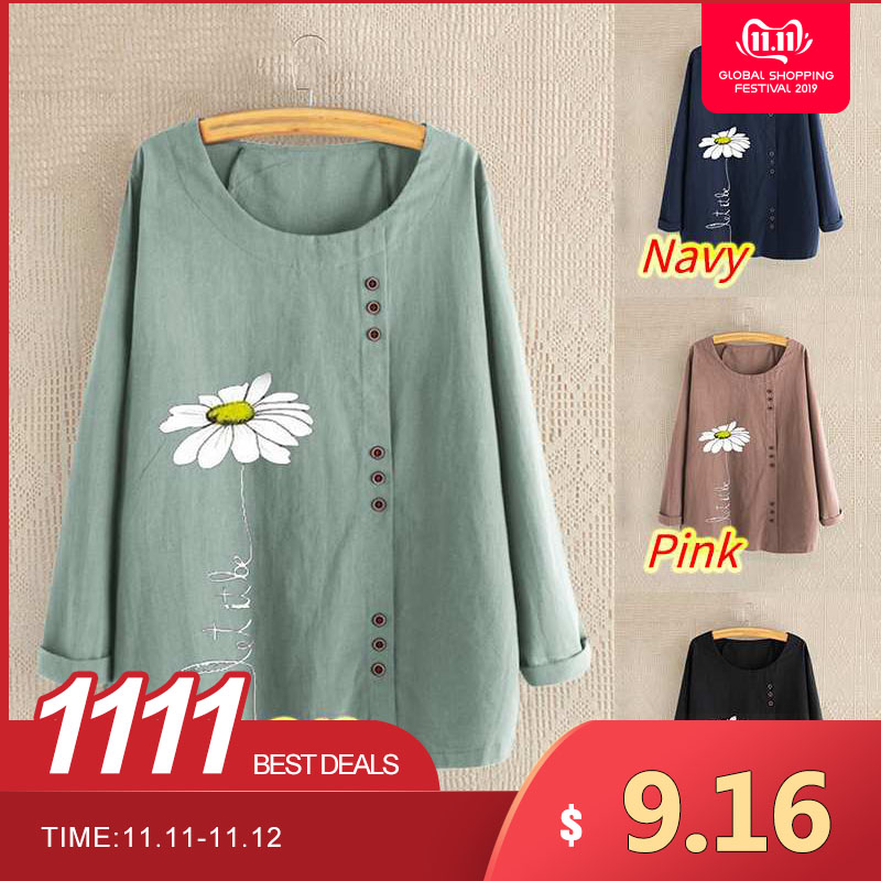 2019 Autumn Women's Printed Blouse Fashion Daisy Blouse Casual Long Sleeve Shirts Female Blusas ZANZEA Oversized Tunic Chemise
