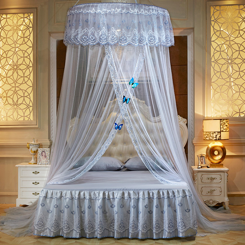 Romantic Lace Round Mosquito Net Adult Dome Tents Ceiling Hanging Canopy Decor Large Size for 1.2-2m Bed Home Textile 8 Color