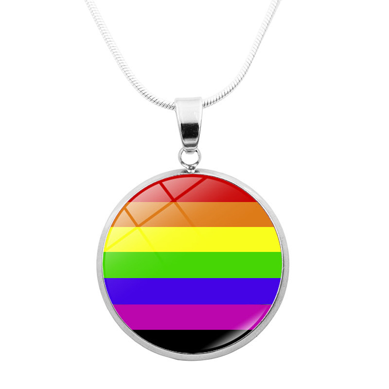 Rainbow Infinity Love Wins Heart GLBT For Lesbians Gays <font><b>Pride</b></font> <font><b>Bisexuals</b></font> Transgender Men's LGBT Necklaces <font><b>Jewelry</b></font> image