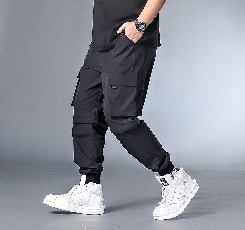 Брюки карго мужские с лентами, в японском стиле|Повседневные брюки| | АлиЭкспресс