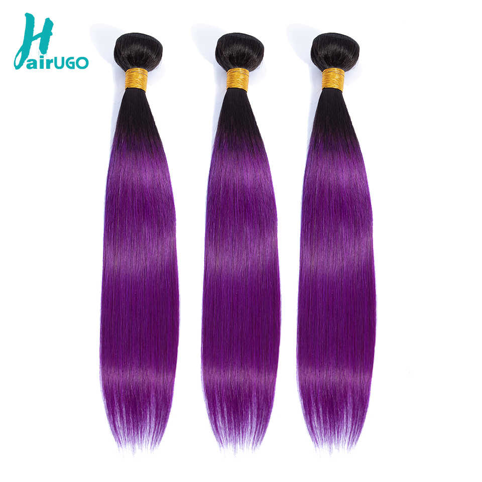 HairUGo Peruvian Hair Bundles T1B/Burgundy Purple Ombre Straight Human Hair Bundles Can Buy With Closure Double Weft Remy Hair