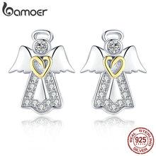 Bamoer 뜨거운 판매 정품 925 스털링 실버 수호 천사 절묘한 스터드 귀걸이 여성을위한 패션 실버 주얼리 선물 sce476