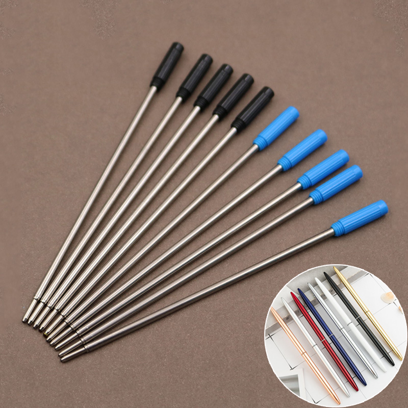 10 Pcs/lot Rotating Metal Pen Refill Special Ballpoint Pen Refill Rod Cartridge Core Ink Recharge Black Blue Ink 11.6cm