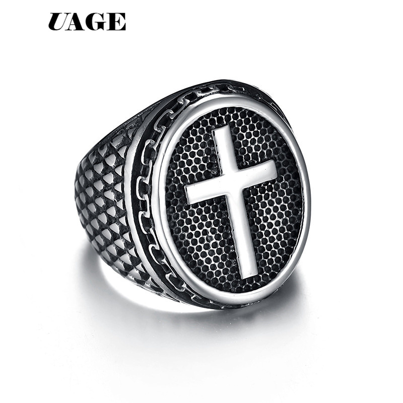 UAGE Vintage Punk Rock Christian Religion Cross Ring 316 L Stainless Steel For Men Father Jewelry Gift image