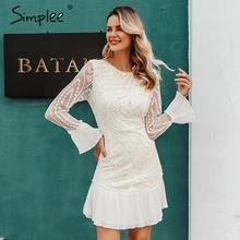 Simplee Sexy Hoge Taille Witte Jurk Elegante Hollow Out Geometrische Kanten Jurk Ruches Mouwen Office Lady Herfst Korte Party Dress