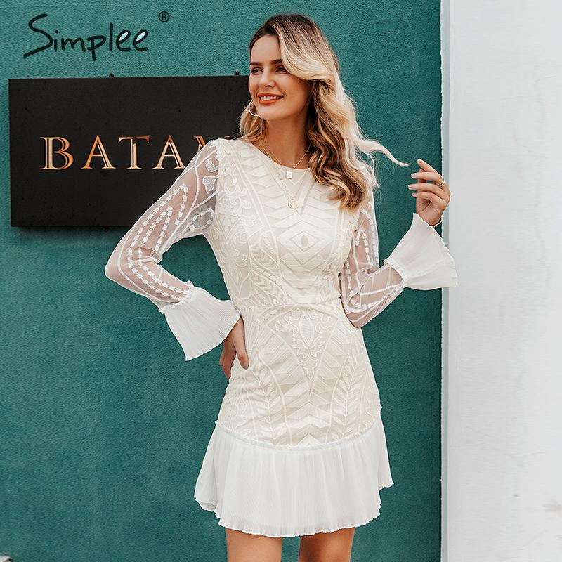 Simplee Sexy High Waist White Dress Elegant Hollow Out Geometric Lace Dress Ruffled Sleeve Office Lady Autumn Short Party Dress