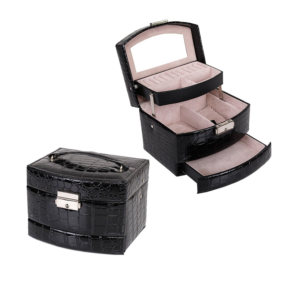 3 Layers Leather Jewelry Boxes Packaging Makeup Organizer Storage Box Automatic Container Case Gift Box Women Cosmetic Casket