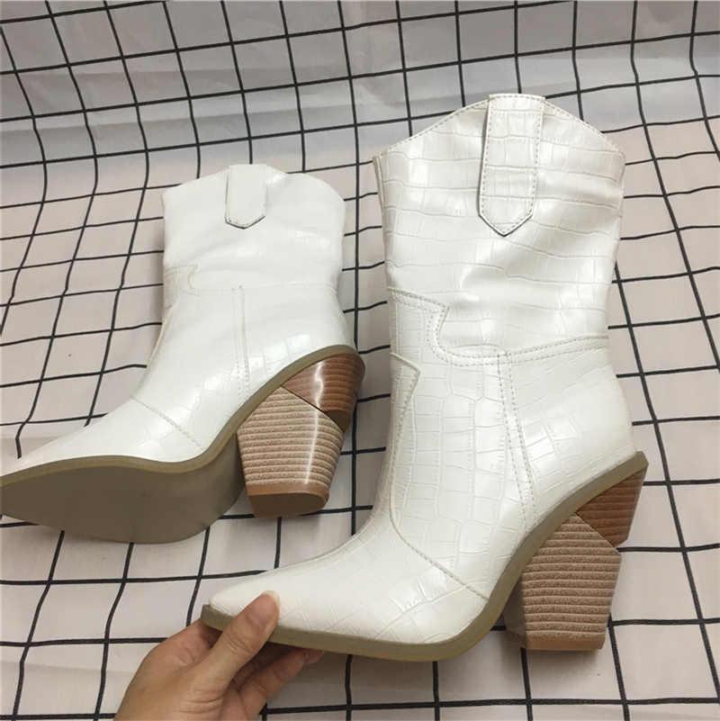 2019 Lüks Sarı Fuşya yarım çizmeler Kadın Fetiş Retro Batı Beyaz Çizmeler Takozlar 10cm Yüksek Topuklu Punk Tıknaz Savaş Ayakkabı