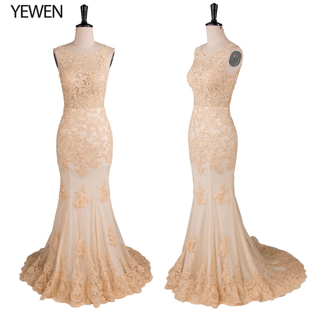 Mermaid Evening Dress Long Round Neck Backless Sleeveless Prom Dresses Formal Party Gowns Robe De Soiree 2019 Plus Size YeWen