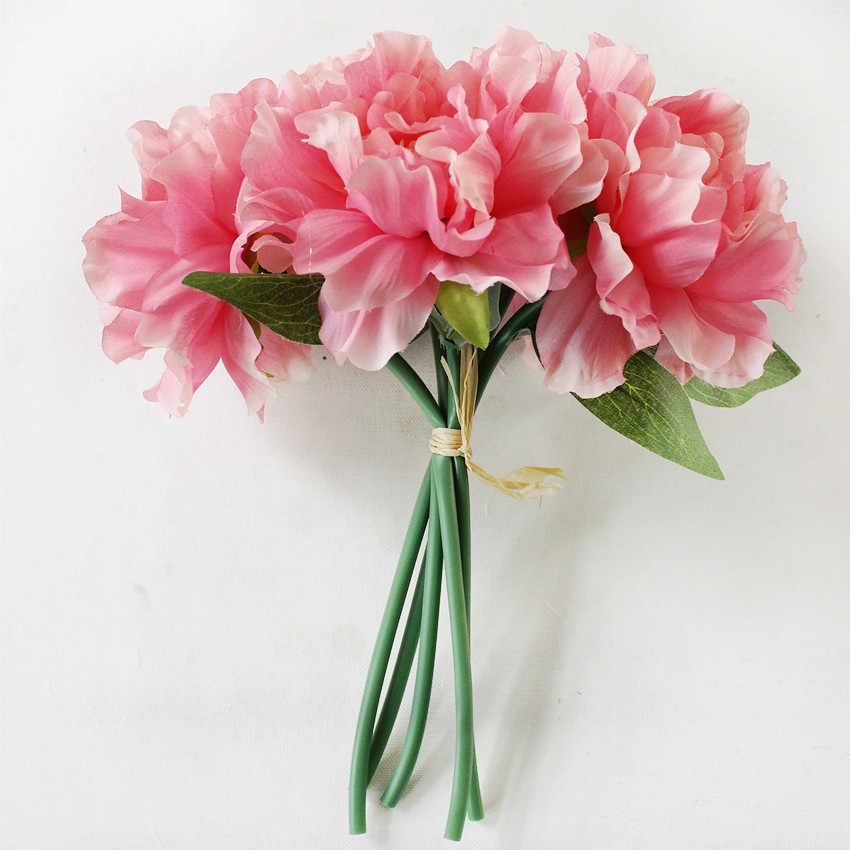 Искусственные цветы Пион свадебное оформление букета 5 голов пионы Искусственные цветы шелковые гортензии свадебные аксессуары