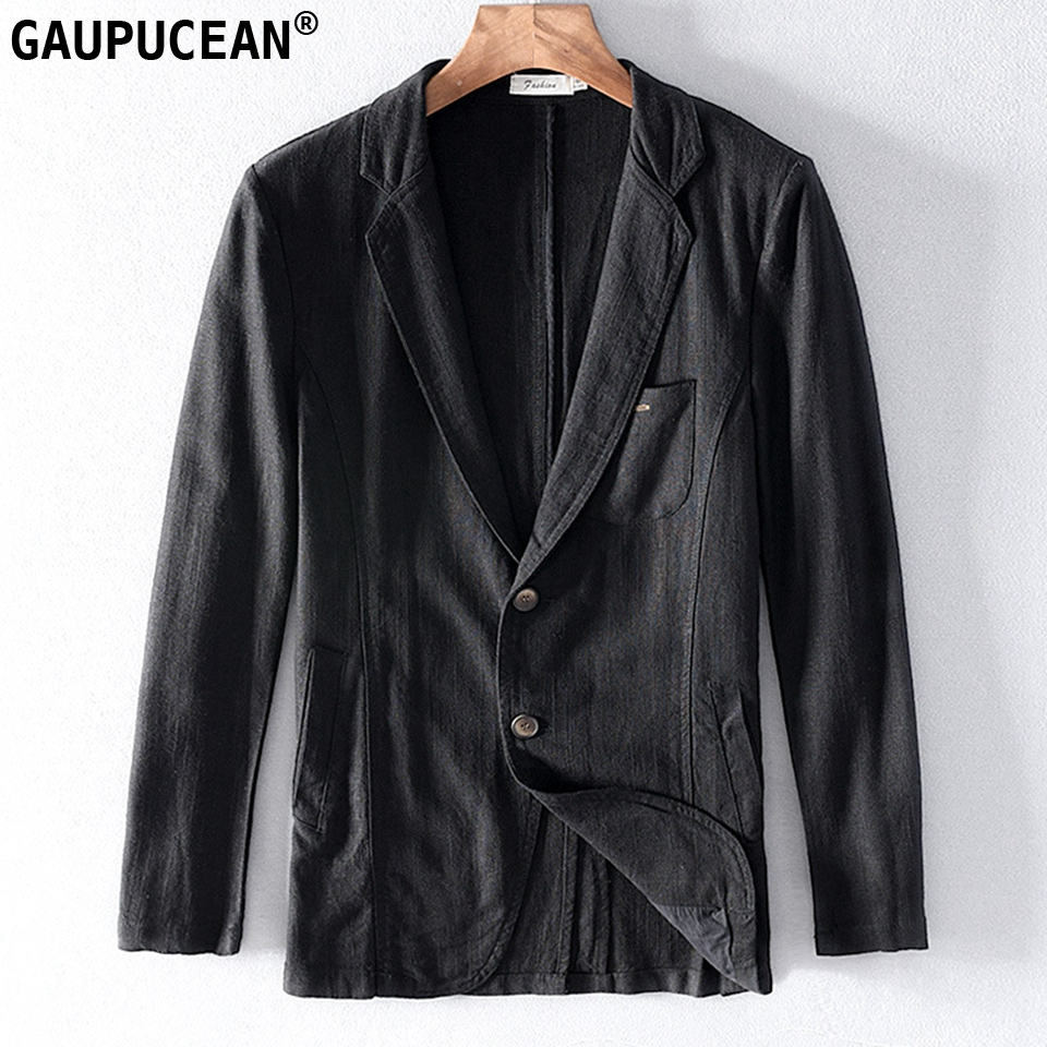 55% Linen 45% Cotton Breathable Anti-static Cool Man Suit Jacket Quality Casual Male Spring Autumn Single Breasted Men Blazer