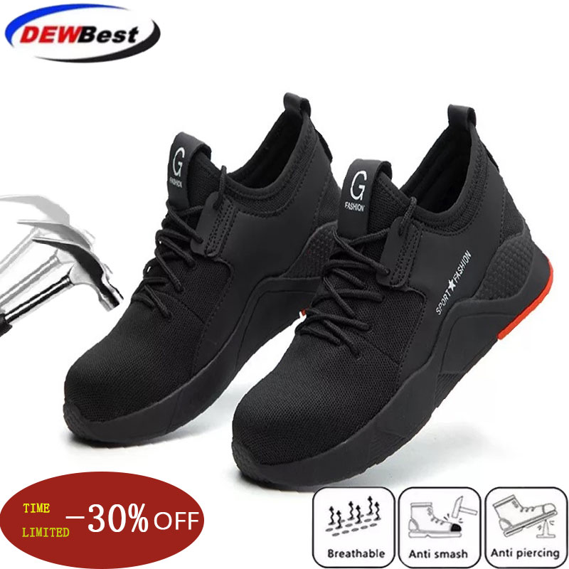 New exhibition 2019 Mens fashion Safety Shoes breathable  light widened anti smashing Steel Toe Work Boots Outdoor Sneaker 36 46-in Safety Shoe Boots from Security & Protection