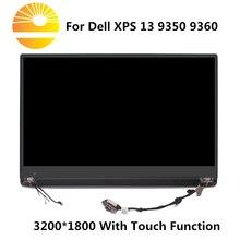 """13.3 """"remplacement décran tactile daffichage à cristaux liquides de QHD pour Dell XPS 13 9350 9360 P54G assemblée en verre de convertisseur analogique numérique daffichage de plein LED supérieur"""