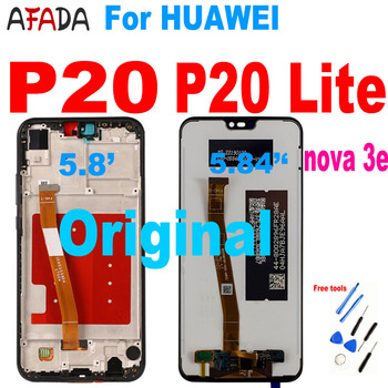 For Huawei P20 LCD Display EML-L22 EML-L09 EML-L29 For HUAWEI P20 Lite ANE-LX1 Nova 3e LCD Display Touch Screen Digitizer Assemb for huawei p20 lite usb plug charger board microphone module cable connector for huawei nova 3e digitizer phone parts repair kit