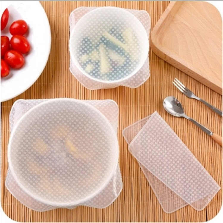 2PCS food grade Keeping Food Fresh Wrap Reusable high stretch Silicone Food Wraps Seal Cover Stretch Lid for outdoor picnic