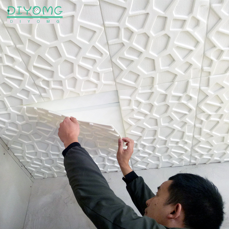 3D Wall Stickers Ceiling Roof Decoration Wallpaper Living Room TV Background PVC Self-adhesive Contact Paper Wall Decor Panel
