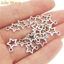 Джули Ван 50 шт полый пятизвездочных Подвески яркий посеребренные Мини Сплав Модные украшения звезды шарма