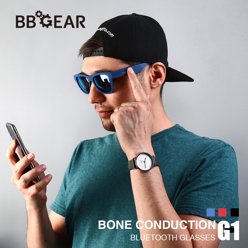 G1 <font><b>Wireless</b></font> Bone Conduction <font><b>Bluetooth</b></font> Sunglasses w/Mic Hands-Free Call Music Waterproof Smart Sunglasses <font><b>for</b></font> iPhone <font><b>Android</b></font> image
