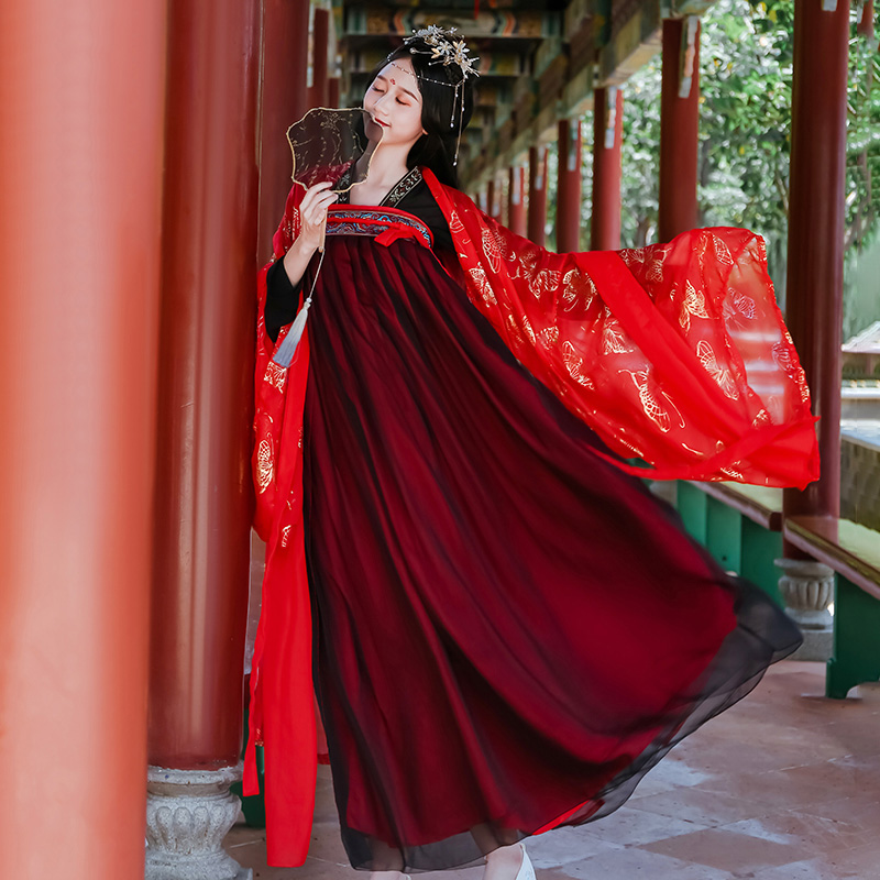 Traditional Chinese Bride Costume For Women Hanfu Dress Ancient Emboridery 3 Meter Pendulum Blouse Folk Dance Costume DL4977