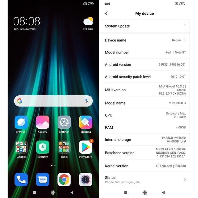 "Global Version Xiaomi Redmi Note 8T 8 T 4GB 64GB Smartphone NFC 48MP Quad Cameras Snapdragon 665 Octa Core 6.3"" 4000mAh Battery"
