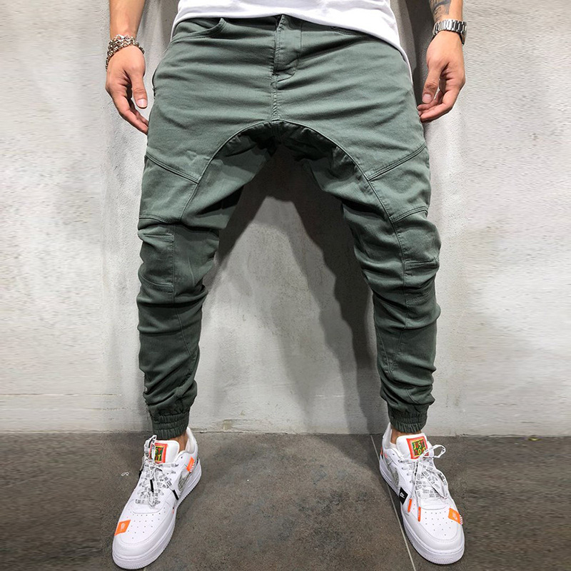 Solid Sweatpants Men Joggers Multi-pocket Pants Autunm 2019 New Fashion Long Trousers Male Elastic Waist Men's Sportswear