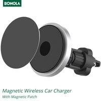 Bonola-cargador de coche inalámbrico Qi, soporte de carga para teléfono inteligente, 15W, para iPhone 12/11/8 Plus/Samsung/Xiaomi