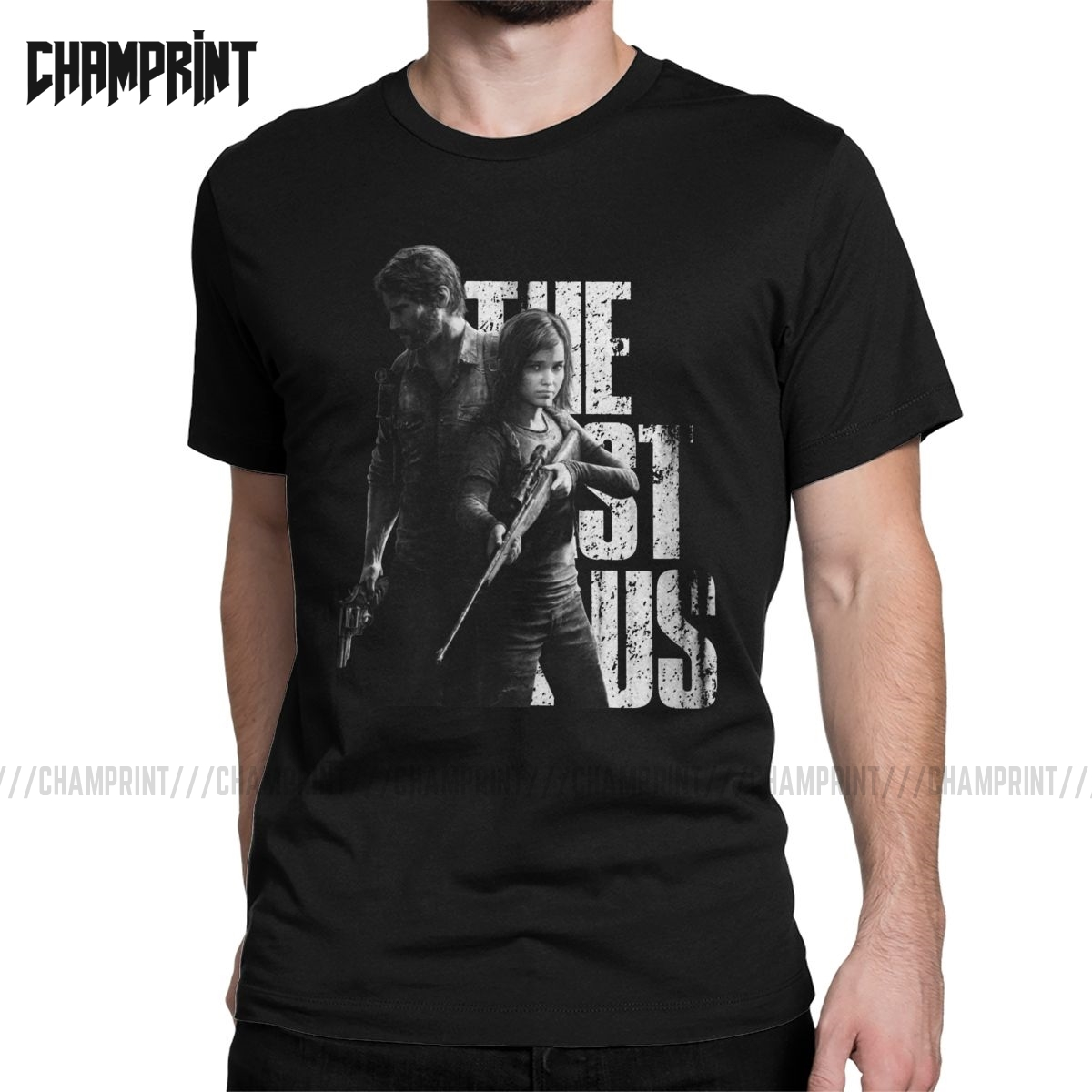Vintage The Last Of Us Ellie And Joel T-Shirt For Men Cotton T Shirts Fireflies Tlou Video Game Short Sleeve Tee Shirt Plus Size
