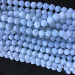 Natural Genuine Blue White Celestine Celestite Round Loose Beads 6mm 8mm 10mm