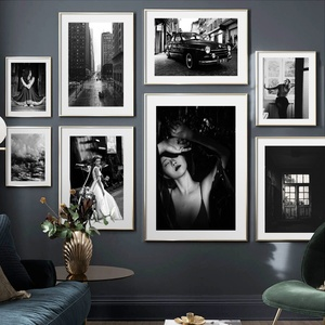 Black White Woman Car Street Cloud Door Vintage Nordic Poster Wall Art Print Canvas Painting Wall Pictures For Living Room Decor