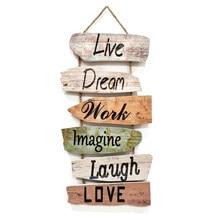 Signe mural suspendu signe mural en bois rustique (vivre, rêver, travailler, imaginer, rire, aimer) décoration murale en bois pour la décoration intérieure