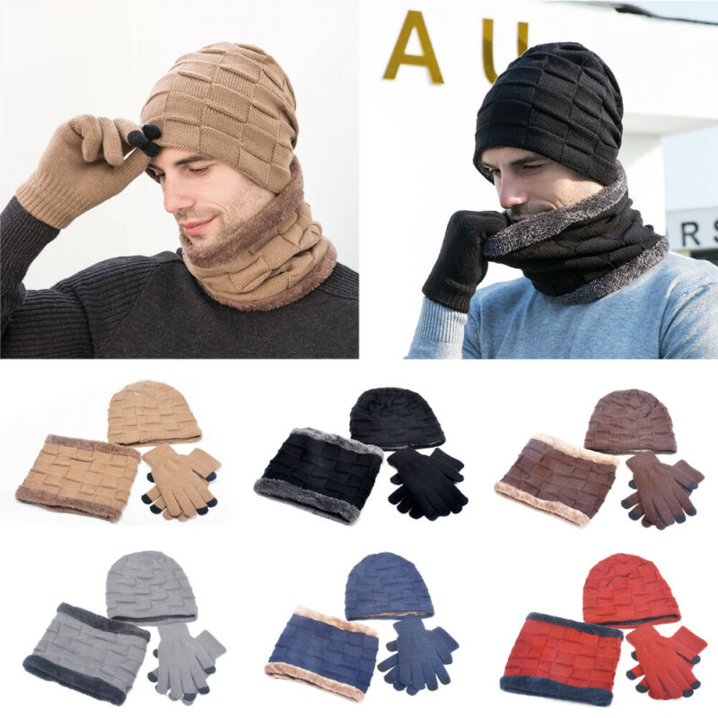 New 2020 Men Women Winter 3 Piece Set Knit Beanie Hat Scarf Touchscreen Gloves Warm Suit