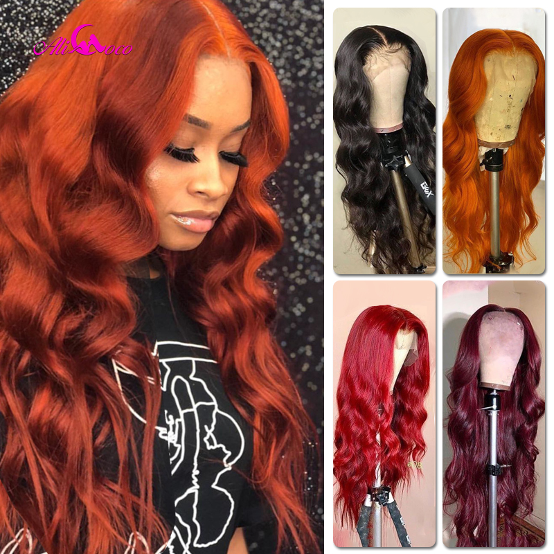 Wine Red Body Wave Lace Front Wigs Burgundy Red For Women Long 99J Hair Lace Wig Bleached Knots With Baby Hair Ali Coco