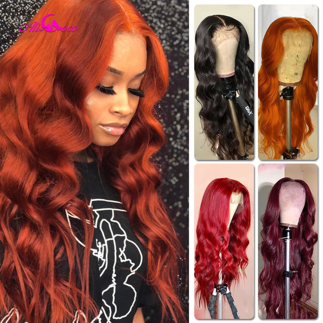 $ US $50.72 Wine Red Body Wave Lace Front Wigs Burgundy Red for Women Long 99J Hair Lace Wig Bleached Knots with Baby Hair Ali Coco