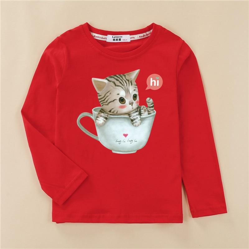 Printed tees kitten pattern girls t-shirt fashion long sleeved clothes cute cat design baby girl tops full cotton child tshirt 4