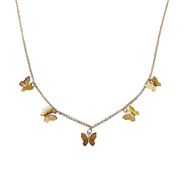 2020 Boho Butterfly Choker Necklace For Women girls simple Chain Star pendant Kolye collana Bijoux Collar Chocker Collier Femme