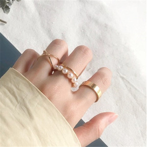 Index Finger Ring Vintage Gold Color Round Joint Rings for Women Jewelry Wedding Bands Design Pearl Fashion Simple Party 4 Pcs