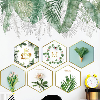 Nordic Style Green Leaves Wall Stickers for Bedroom Living room Dining room Kitchen Kids room DIY Vinyl Wall Decals Door Murals plants wall stickers green leaves wall decals wall paper diy vinyl murals for bedroom living room kids room wall decoration