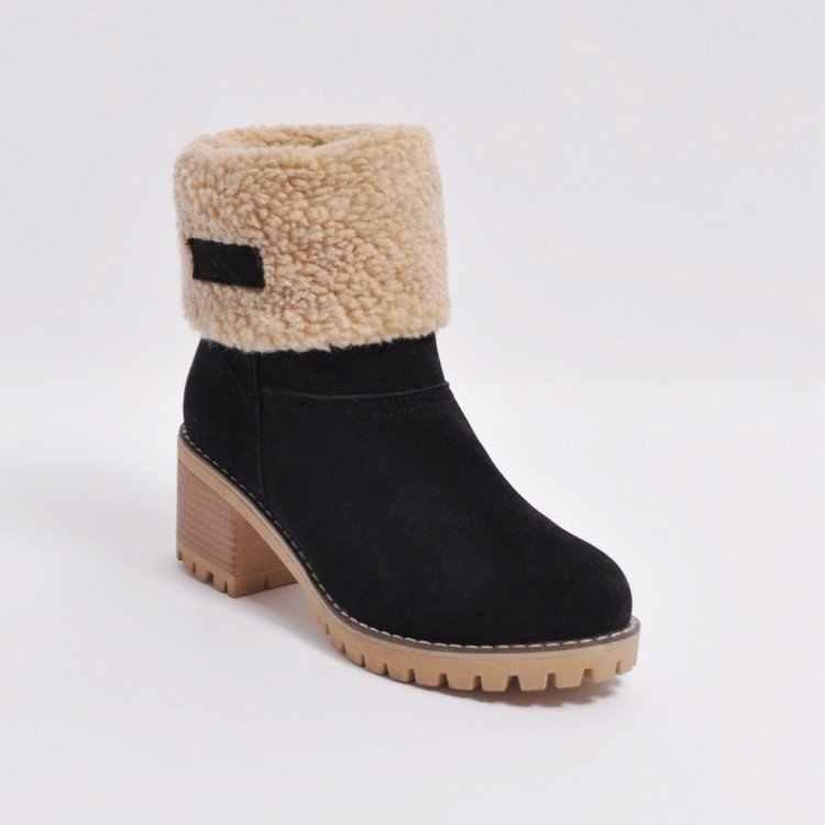 LZJ 2019 bayan botları yeni kış açık sıcak ve rahat kürk çizmeler kadın kar botları kalın topuk ayakkabı moda yarım çizmeler