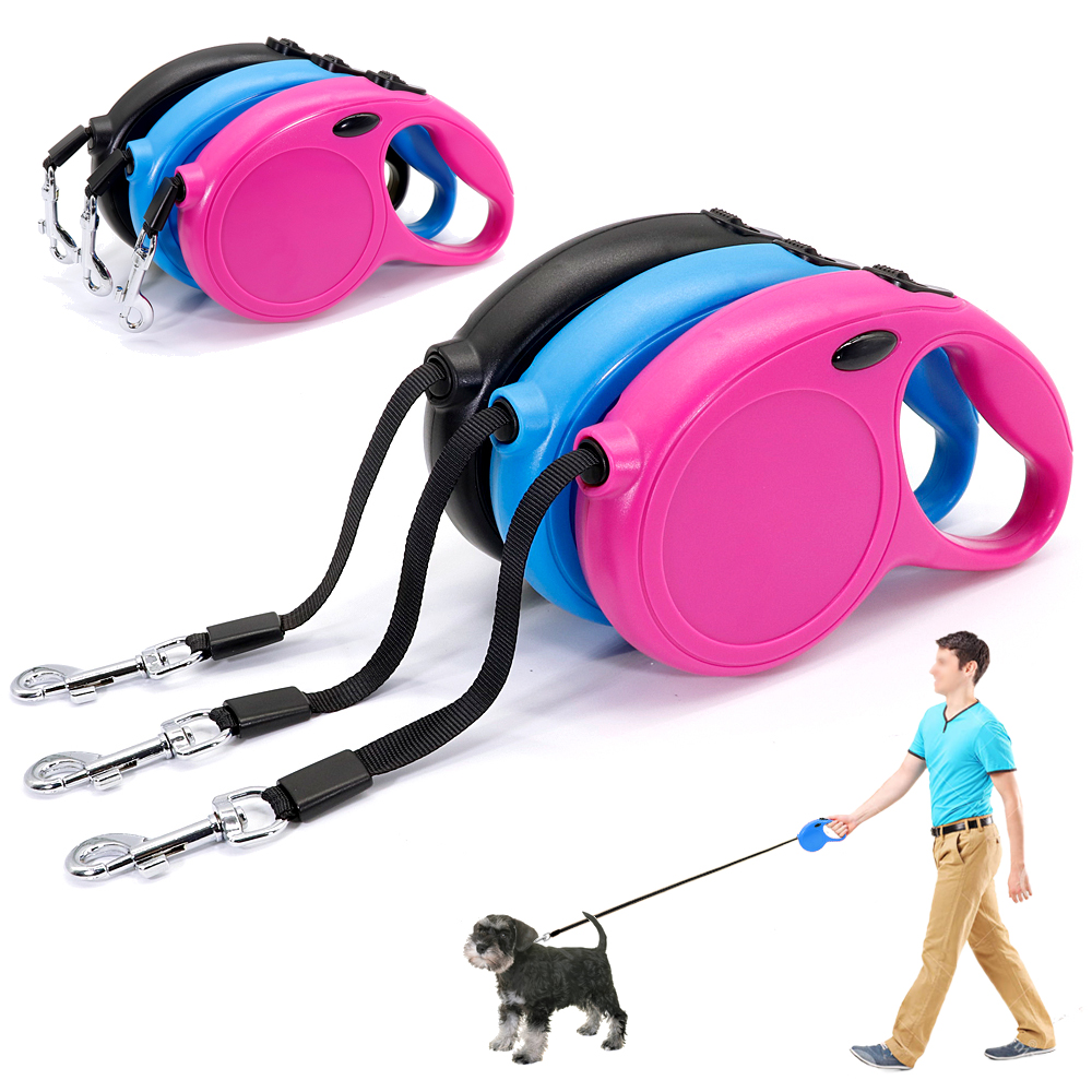 5M Retractable Dog Leash Durable Nylon Dogs Leashes Austomatic Rope Extending Pet Leads For Small Medium Large Dogs Walking