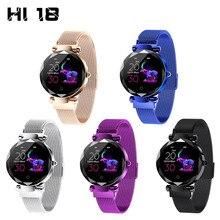 גברת HI18 שמלת IP67 עמיד למים נשים חכם צמיד קצב לב צג גשש כושר נשים שעון שעוני יד בנד