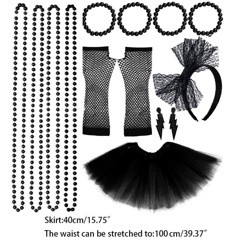 EDCRFV 1Set Women 80s Fancy Dress Accessories Retro Party Costume Set Adult Tutu Skirt Neon Fishnet Gloves Beaded Necklace Set