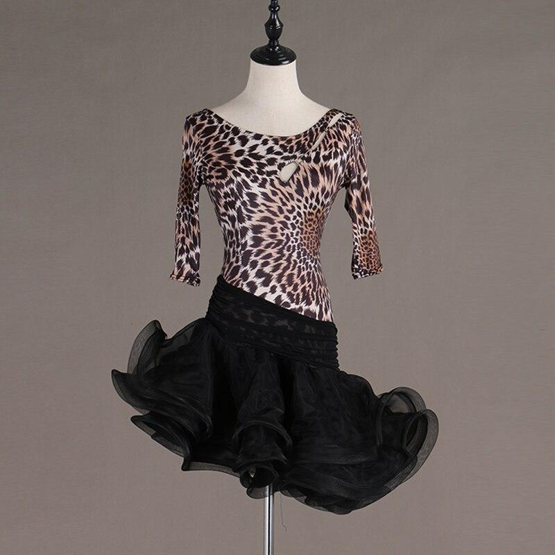 New Latin Dress Women Costume Leopard Print Salsa Dress Black Gauze Dance Skirt Tango Wear Professional Latin Dance Dress VDB546